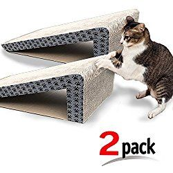 iPrimio Cat Scratch Ramps (2 Ramps for One Price) – Foldable for Travel and Easy Storage – Great for Cats Playing Over, Laying, and Scratching – Patent Pending Design (2 Pack)