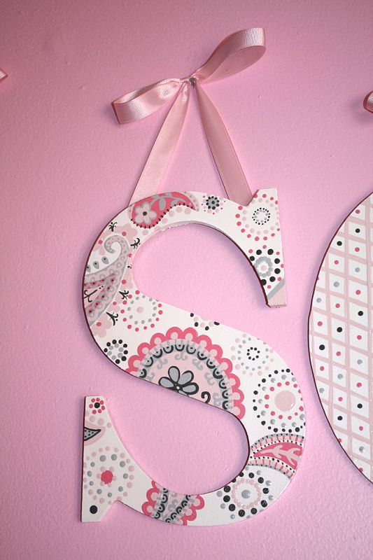 Hand Painted Letters in Pink & Grey Paisley by Brandi Roberts Murals and More! Find her on Facebook!