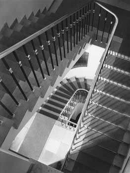 This was taken by Karl Hugo Schmolz. He is looking down a spiral stair case. This shows order because the stairs follow the same shape the whole way round and that is how they are designed. I like this photo because it is simple but effective.