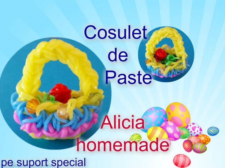 COS DE PASTE FACUT PE SUPORT SPECIAL RAINBOW LOOM - EASTER BASQUET
