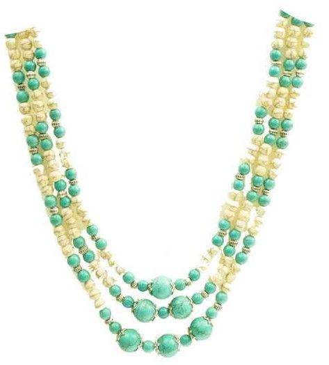 Necklace with beige and green beads.