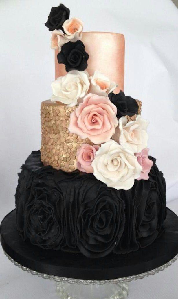 dramatic black and rose gold metallic wedding cake   ~  we ❤ this! moncheribridals.com