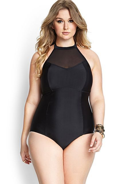 Plus Size Mesh One Piece Swimwear Halter One Piece Swimsuit High Neck Swimwear Mesh Bathing Suit High Neck Halter Swimsuit LAVELIQ