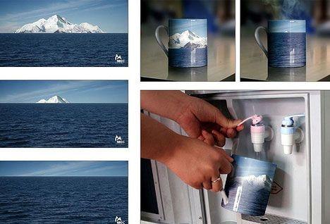 Disappearing heat-activated icebergs mug | #ambient #creative #guerillamarketing  #guerilla #ambientmedia <<< repinned by www.BlickeDeeler.de | Follow us on www.facebook.com/BlickeDeeler