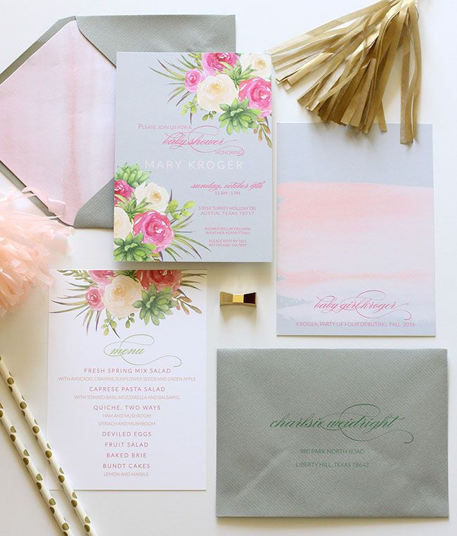 Flower watercolor invitations. Customizable. Blush Paperie