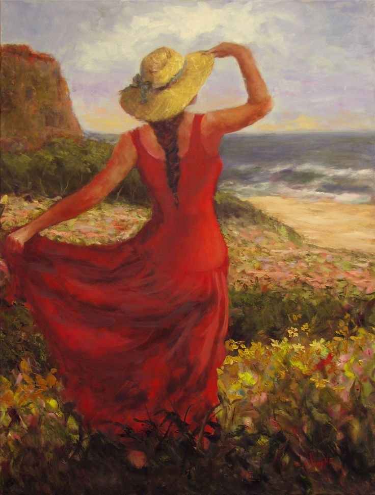 "Woman gazing to the sea in a red dress standing in field of flowers  ""Constanza""  36 x 48 Oil on Canvas  $4500.00  www.claibornescorner.com claibornescorner@aol.com"