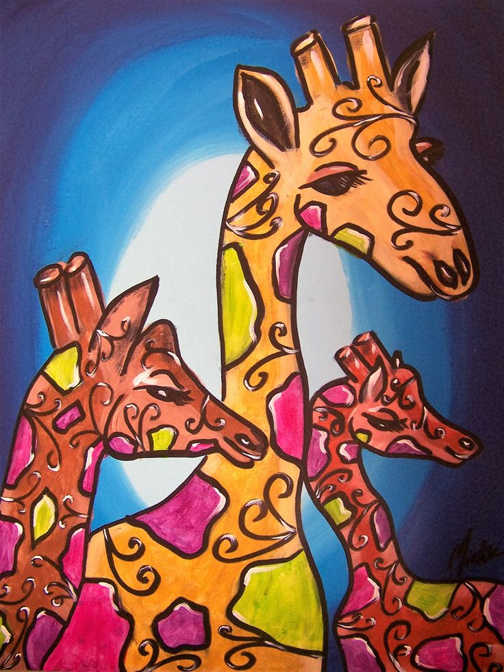 """Contact Marietjie Uys if you are interested in purchasing this painting at uys.marietjie@gmail.com for R1680. Free delivery in Gauteng. Whimsical Giraffes is acrylic and ink on canvas panel, measuring 18"""" x 24"""" (+/- 46 x 61 cm), unframed. Artist: Miekie."""