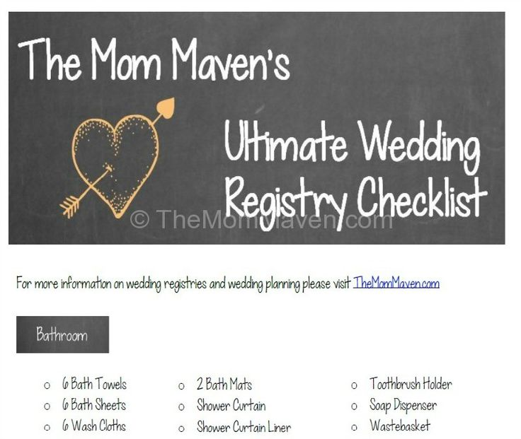 The MomMaven's Ultimate Printable Wedding Gift Registry Checklist-TheMomMaven.com