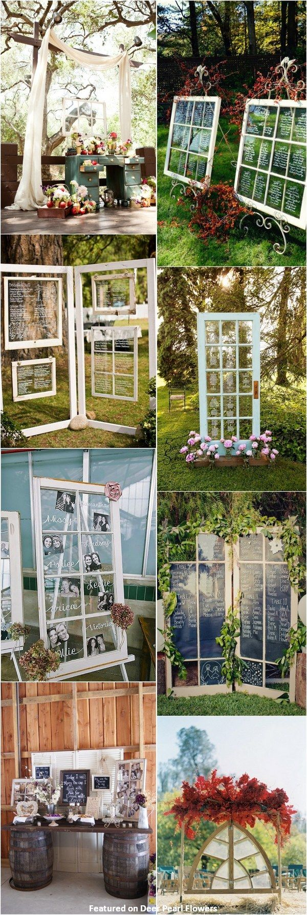 vintage rustic old window wedding decor ideas / http://www.deerpearlflowers.com/diy-window-wedding-ideas/