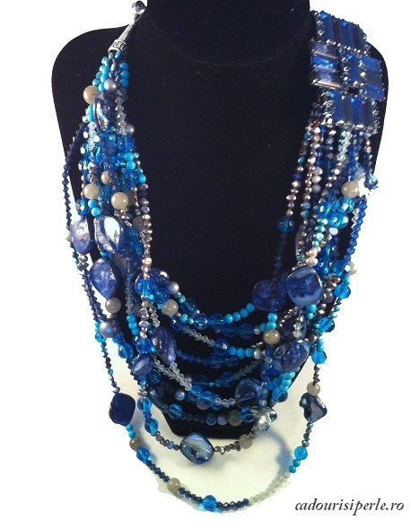 Un colier extravagant, la moda, realizat dintr-un amestec exotic de perle nugget, cristale, turcuaz si sidef, toate insirate pe 10 siraguri inegale. Un efect uimitor, un colier care scoate in evidenta orice tinuta.
