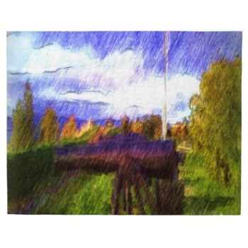 A photo with drawing effect. A photo drawing of a canon loaded at Kristiansten Fortress. #drawing #drawing-effect #canon #kristiansten-fortress #grass #sky #cloud #tree landscape