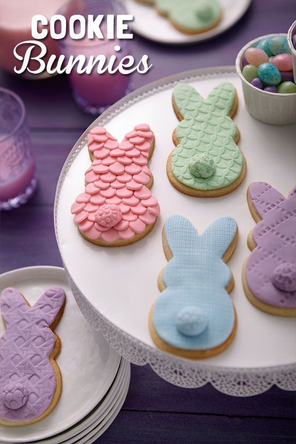 Make these Bunny cookies with fondant coats textured with Wilton Pattern Embossers: