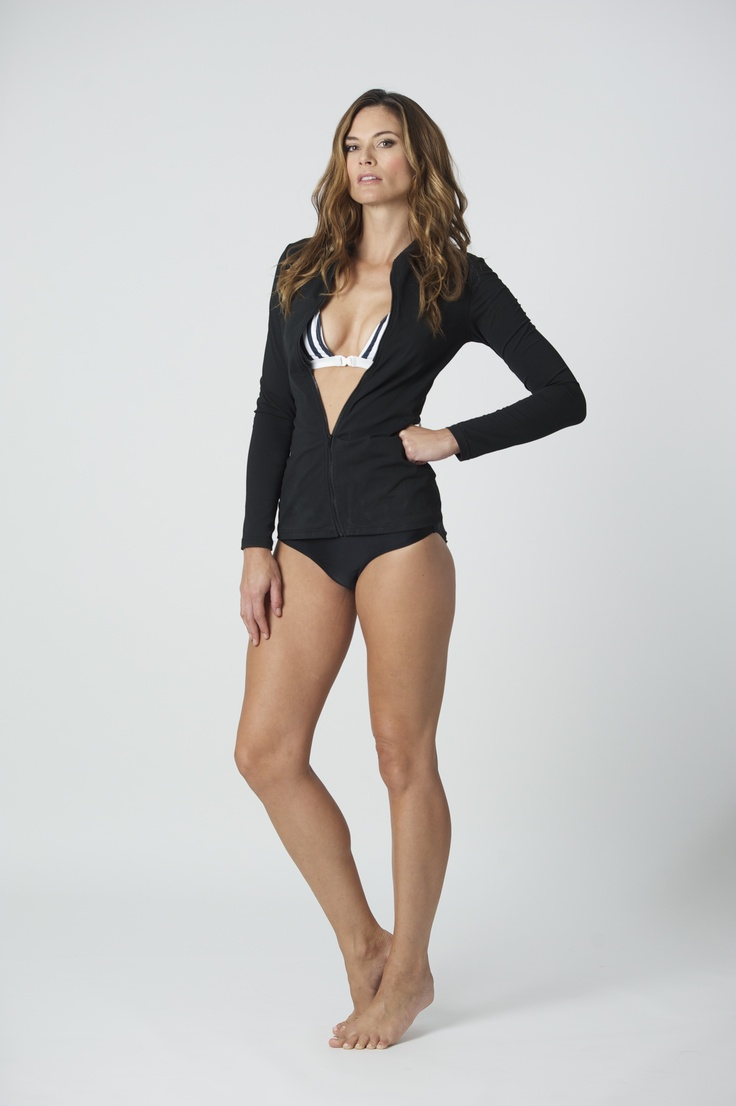 """Brashie"": SPF 50, Rash Top, Italian Lycra, lined with power mesh for figure flattering fit. This unique design has its own built in supportive bikini top. Extremely flattering and supportive, BAZ original design. Paired with the silky glam track-pant."