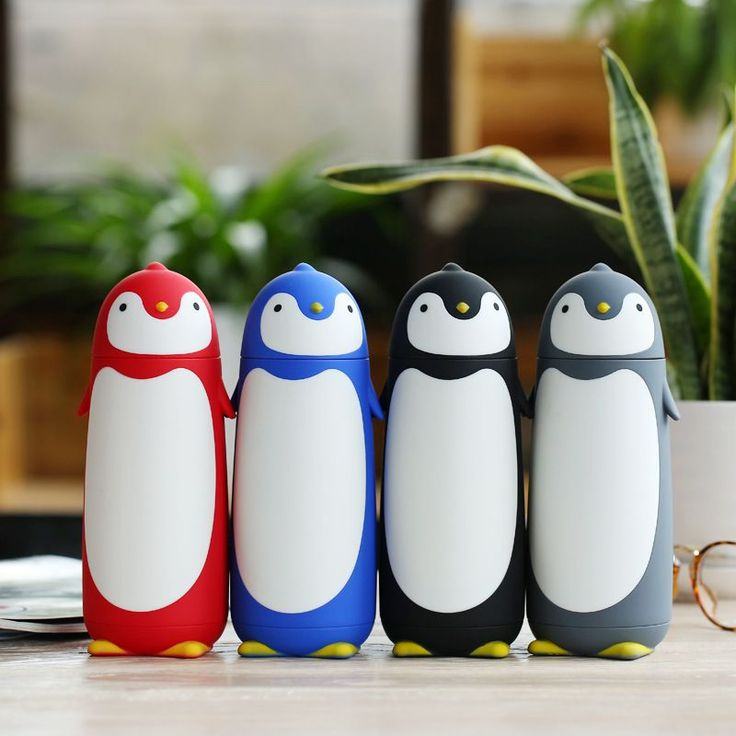 4 colors cute Sweet gift cup children water bottle Penguin stainless steel thermos cup Termos Vacuum Flasks