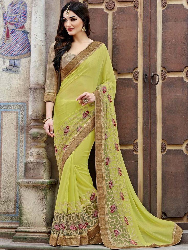 Красивое индийское сари из шифона и гипюра цвета лайма, украшенное вышивкой скрученной шёлковой нитью с люрексом