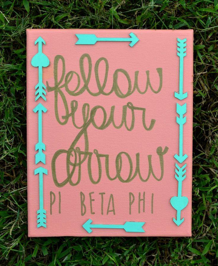 "Stretch canvas; Pi Beta Phi ""follow your arrow"" by WordsForYourWalls on Etsy"