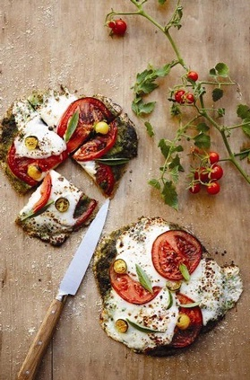 Mozzarella and tomato basil caprese flatbread