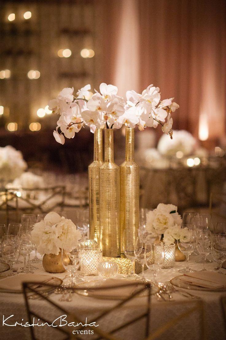 gold wedding centerpiece idea; Featured Event: Kristin Banta