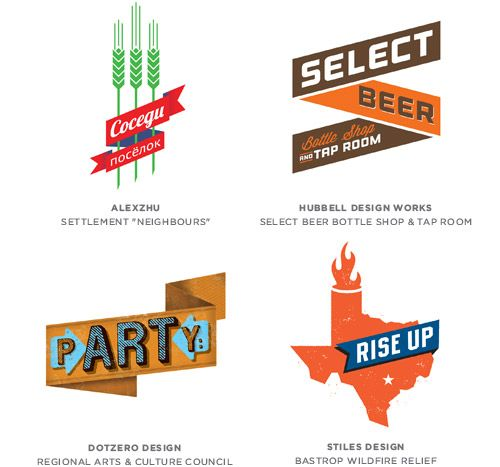 Graphic design trends 2014 according to Logo Lounge: Banner Logos.