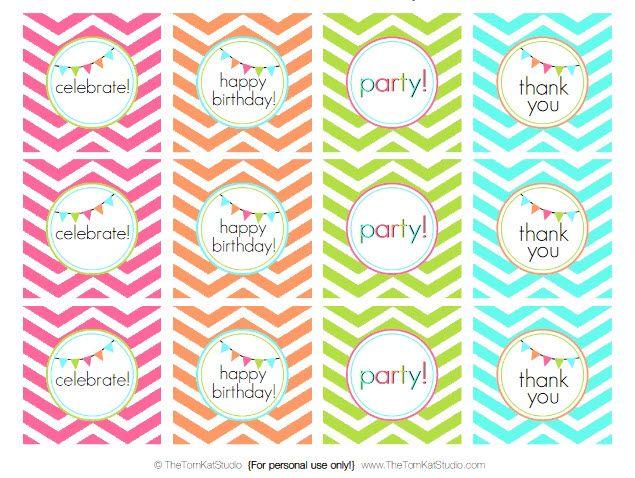 FREE printable happy birthday chevron tags!