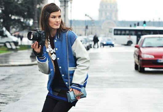 Varsity JacketFashion Weeks, Sporty Chic, Basebal Jackets, Varsity Jackets, Fall Style, Street Style, Varsity Blue, Tommy Ton