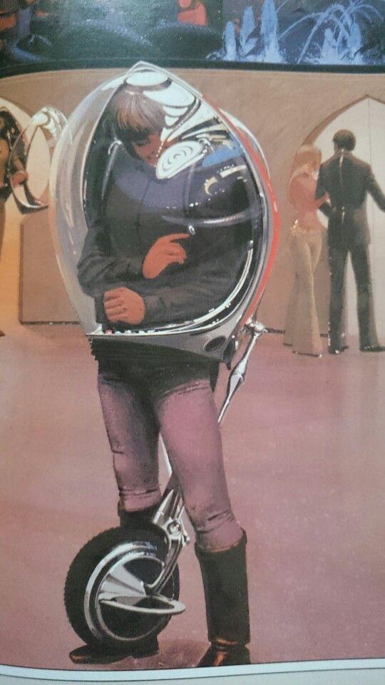 Personal gyrobike. Earth. (Syd Mead: Sentinel)