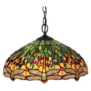 Amora Lighting 2-Light Tiffany Style Dragonfly Hanging Lamp AM1027HL18 at The Home Depot - Mobile