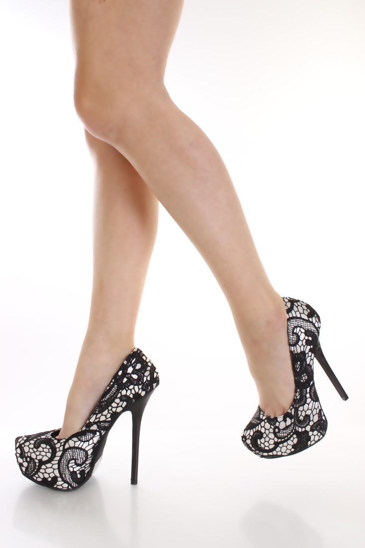 Black White Crochet Pump Heels