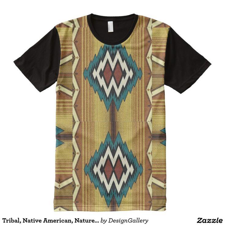 Tribal, Native American, Nature/Blue, Geometric All-Over Print T-shirt