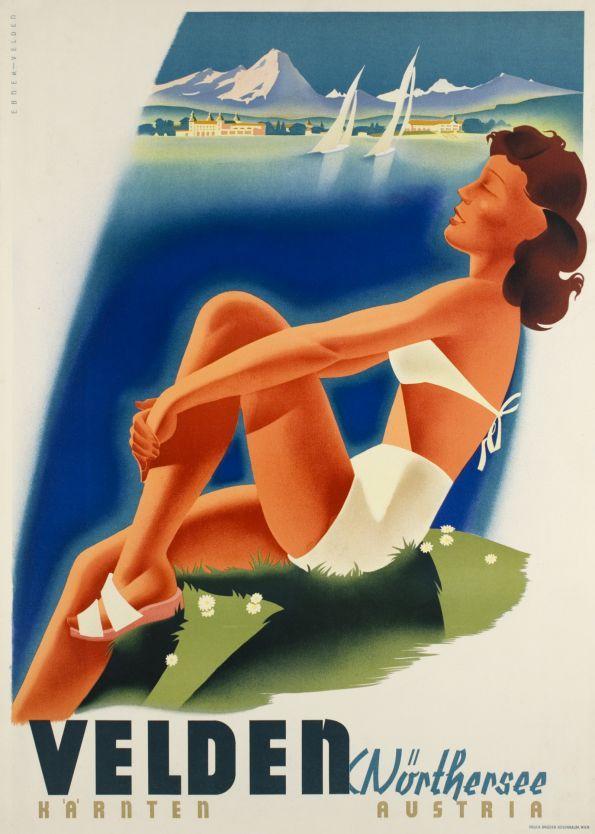 Vintage travel poster, Carinthia, Austria