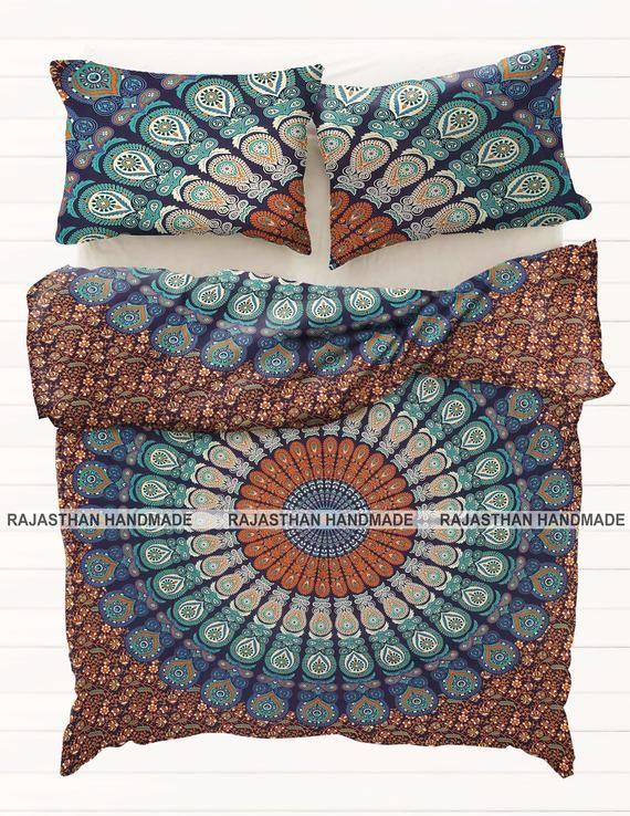 Bohemian Bettwasche Dark Teal Amp Gold Mandala Bettbezug Set