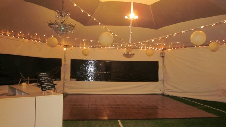 Setting up the dance floor area
