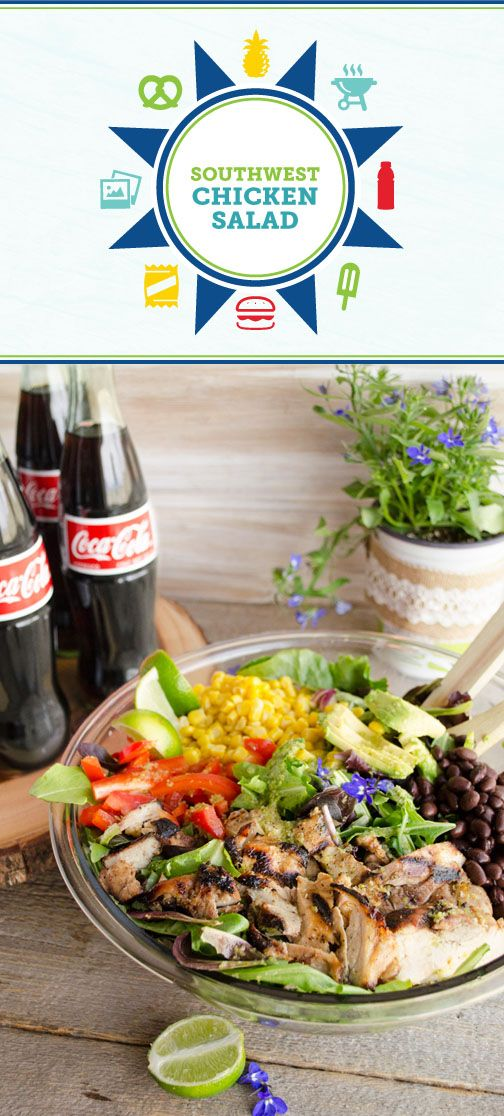 Bring on the flavor with this delicious Southwest Chicken Salad recipe! Piled high with grilled chicken, sweet corn, black beans, avocados, and bell peppers and topped with a spicy homemade dressing, this bold dish is the perfect pair to Coca-Cola®. To start off your fresh summer meal idea right, pick up all the essential ingredients you need at Sam's Club.