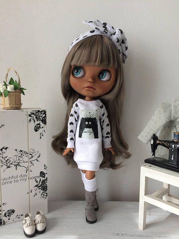 šaty pro Blythe, umělecké panenky, oblečení pro Blythe, Blythe, Blythe panenky, Decor panenky, panenky pro dívky, Home panenky, panenka, oblečení pro panenky