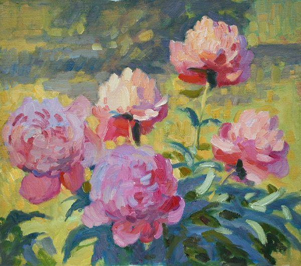 Peonies Blooming, oil on canvas, 40 x 45 cm, (15″ x 19″),  #peonies #painting