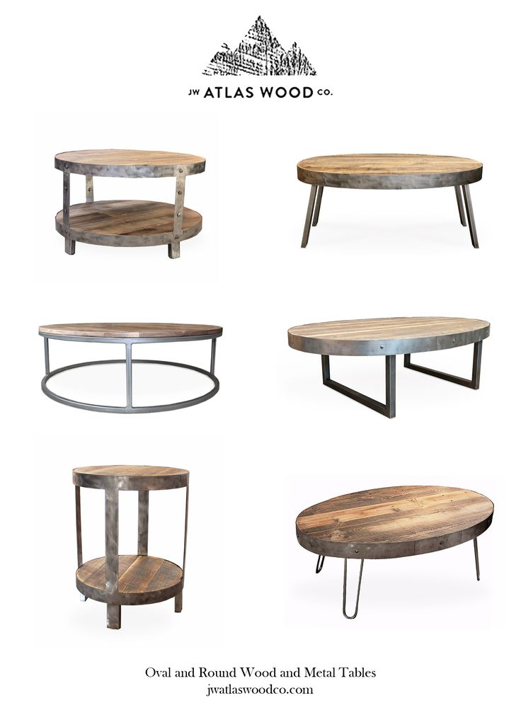 Wood and Metal, Oval and Round, Coffee and End Tables. Handcrafted From Start to Finish in Fort Collins, Colorado. Free Shipping Nationwide. Made to Order and Can Be Customized and Sized to Your Liking.