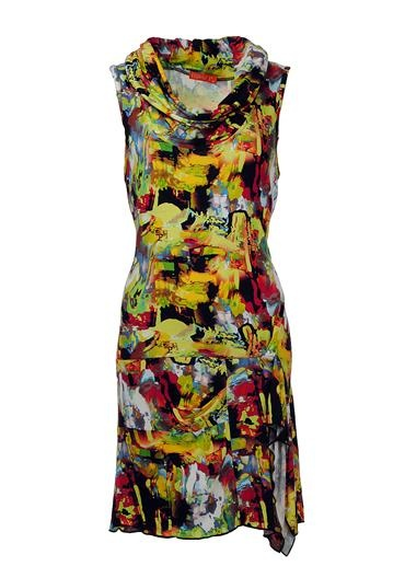 Exquiss's Print Cowl Dress, Yellow | McElhinneys Online Department Store