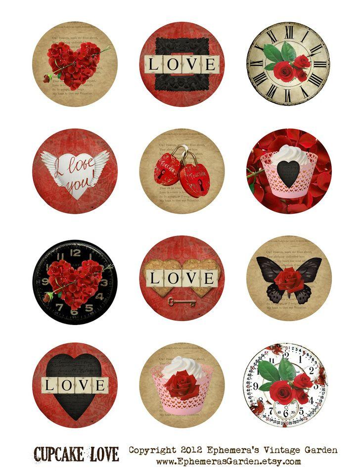 Ephemera's Vintage Garden: Weekly Freebie - Valentine 'Love' Cupcake Toppers #valentine