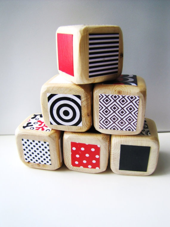 Baby Blocks Developmental Toy Red White and Black by MiaBooo, $20.00