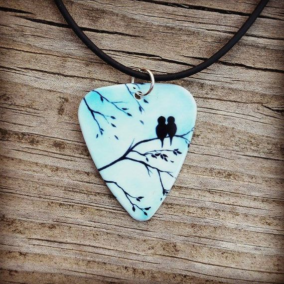 Light Blue Sky Love Birds silhouette guitar pick necklace on by Featherpick, $10.00