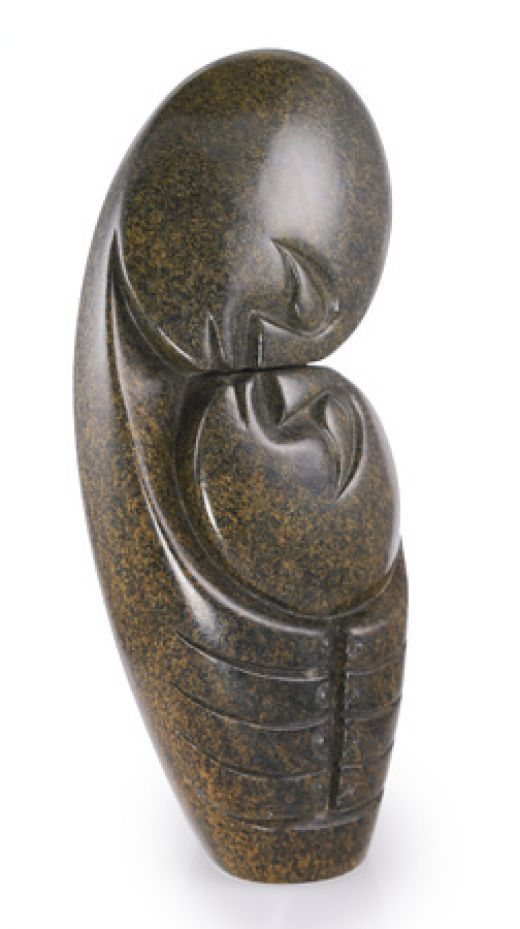 """The kiss"", Shona serpentine sculpture, Zimbabwe, Africa"