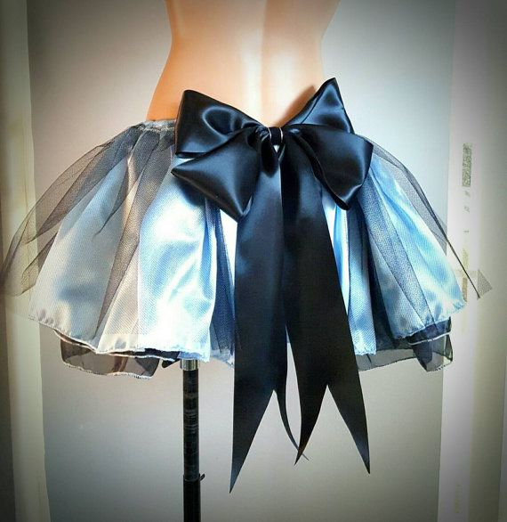 Alice In Wonderland Blue and Black Skirt . Alice Cosplay Rave Halloween Outfit . Large Bow Alice Belle Barbie Cindyrella Costume Skirt.