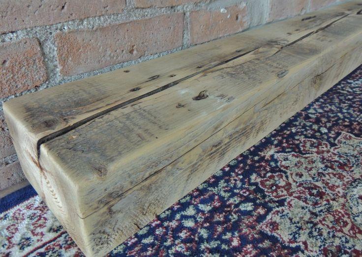 "Reclaimed Barn Beam 86"" x 6"" x 4"" - Fireplace Mantel - Rustic Mantle Shelf - Antique Barnwood Shelf - Gray Mantel by Harvestbilt on Etsy"