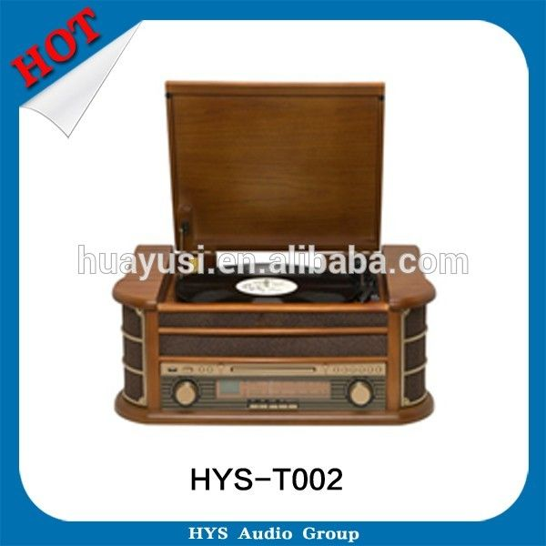 4 In 1 Wooden LP Vinyl Turntable Antique Record Player To CD Cassette Radio