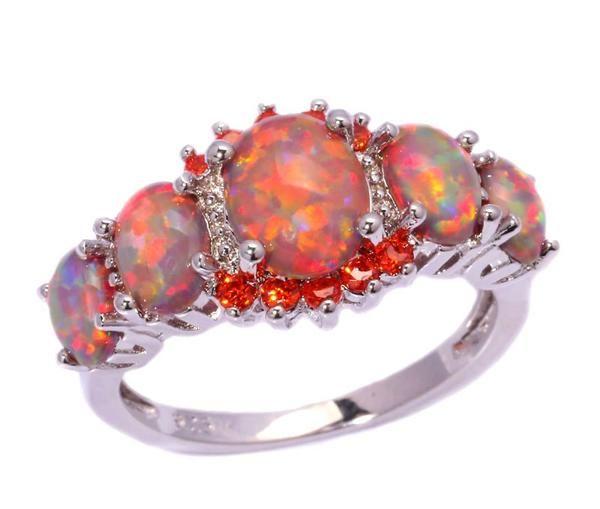 Orange Fire Opal Garnet Silver Ring