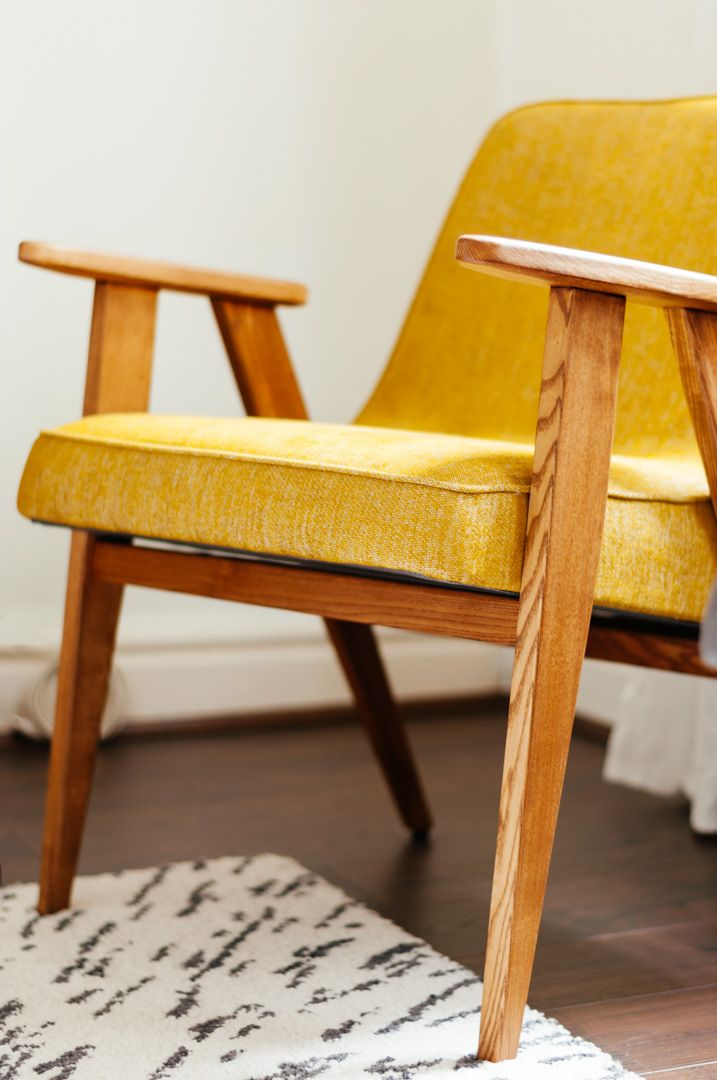The perfect mid-century armchair for small rooms - Boreal Abode. The perfect mid-century armchair for small rooms - Boreal Abode. The stunning 366 chair by 366 Concept. An original mid-century design from Poland. In yellow/mustard fabric with oak-finish ash wood.