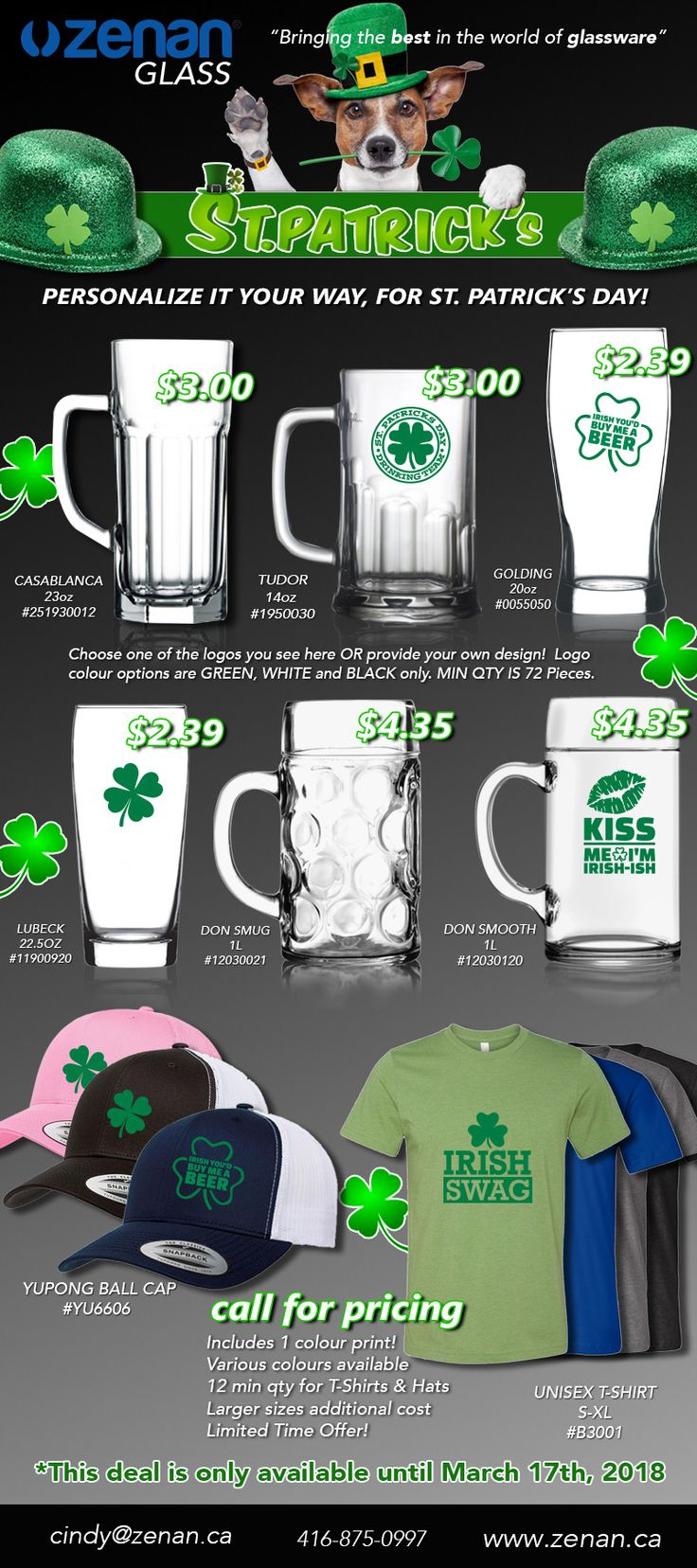 When it comes to celebrations at bars and restaurants, one of the  biggest bar days of the year is almost here! That's right, St Patrick's Day. Let us help you boost sales & increase customer experience with branded mugs, glasses &swag! Don't wait, be prepared!  www.zenan.ca