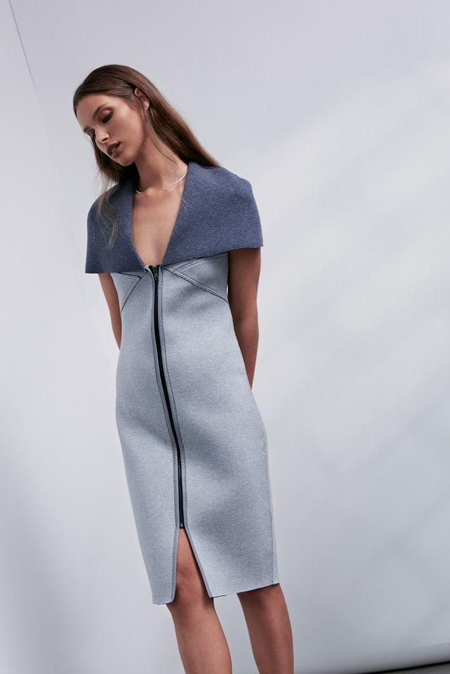 OnceWas: Kikko bonded textured ponte leather zip front cape dress.