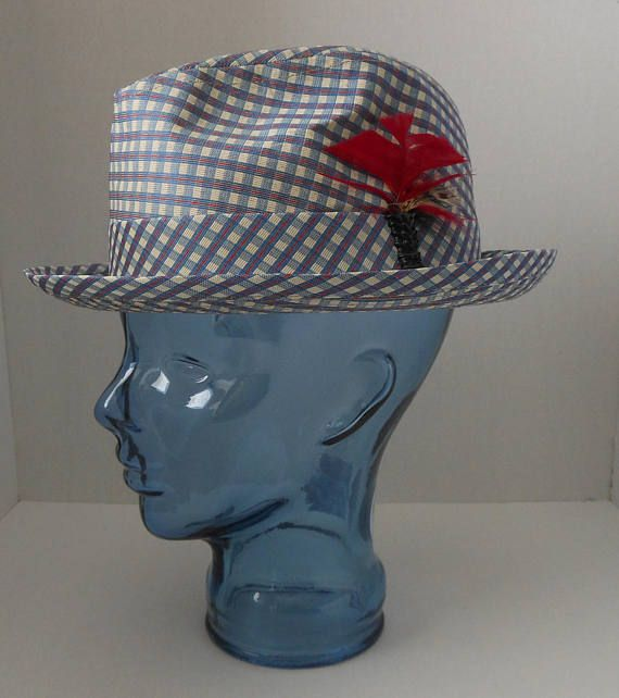 Vintage 60s 70s  Mens Fedora Hat, 1960s 1970s Light Blue Red and White Check Plaid, Size 7 3/8