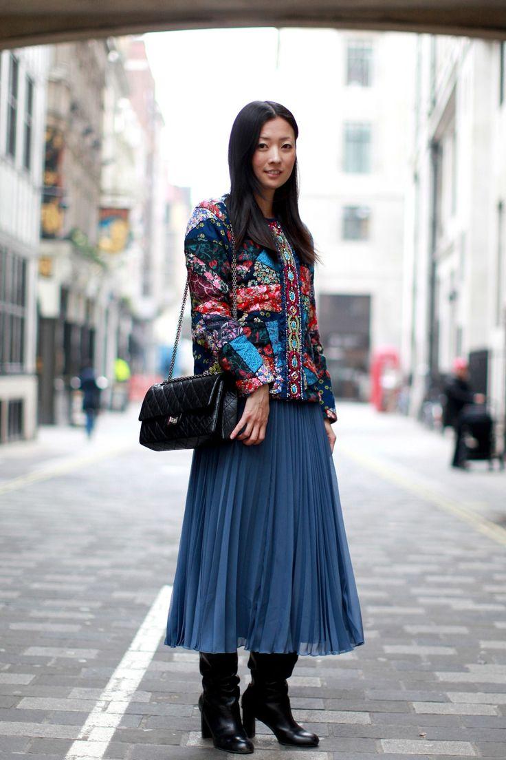 Manoush top, Chanel bag, Whistles skirt, and Armani Exchange boots